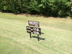 大山ゴルフクラブ16番ショートホール。フロントティからはかなり距離が短い。