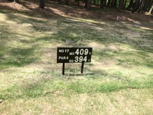 大山ゴルフクラブ17番ミドルホール。フロントティ距離表示。