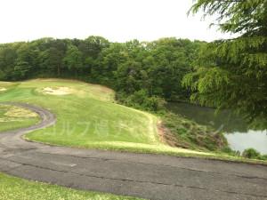 グリーン右サイドの池