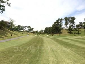 右が山吹ルートでパー4。左の奥に椿のグリーンがあります。椿はパー5。