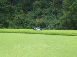 ABCゴルフ倶楽部 INコース13番ミドルホール、レギュラーティの距離表示