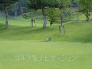 ABCゴルフ倶楽部 INコース16番ショートホール、レギュラーティの距離表示