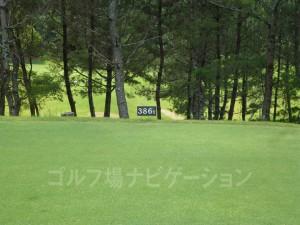 ABCゴルフ倶楽部 OUTコース2番ミドルホール、レギュラーティの距離表示