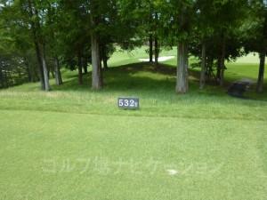ABCゴルフ倶楽部 OUTコース4番ロングホール、レギュラーティの距離表示