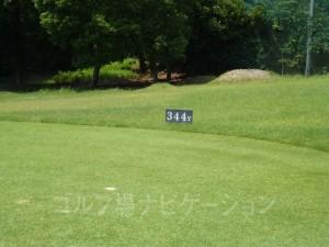 ABCゴルフ倶楽部 OUTコース7番ミドルホール、レギュラーティの距離表示