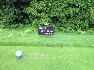 播州東洋ゴルフ倶楽部 INコース13番ミドルホール、レギュラーティの距離表示