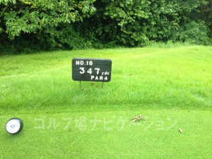 播州東洋ゴルフ倶楽部 INコース16番ミドルホール、レギュラーティの距離表示