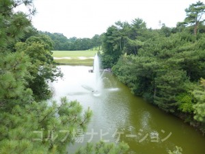 カート道から左手の景観。噴水があります。