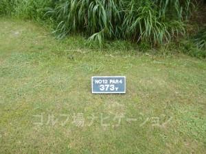 ジ・アッタテラスゴルフリゾート INコース12番ミドルホール、バックティからの距離は373ヤード