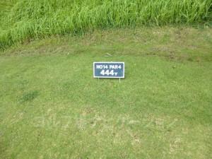 ジ・アッタテラスゴルフリゾート INコース14番ミドルホール、バックティからの距離は444ヤード