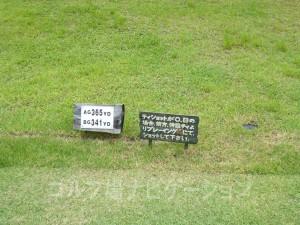 名神竜王カントリー倶楽部 INコース13番ミドルホール、フロントティの距離表示