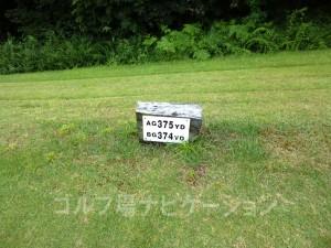 名神竜王カントリー倶楽部 INコース16番ミドルホール、フロントティの距離表示