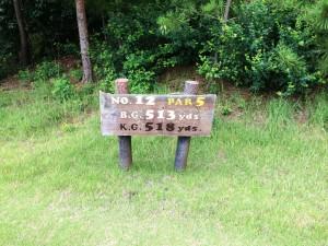 センチュリー三木ゴルフ倶楽部 INコース 12番ロングホール レギュラーティからの距離は513ヤード