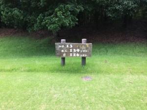 センチュリー三木ゴルフ倶楽部 INコース 13番ショートホール レギュラーティからの距離は139ヤード