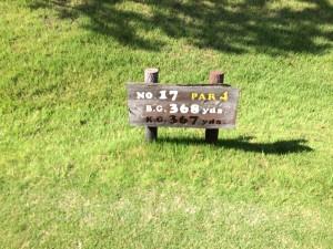 センチュリー三木ゴルフ倶楽部 INコース 17番ミドルホール レギュラーティからの距離は368ヤード