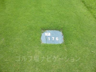 土佐カントリークラブ 桂浜コース7番ショートホール、バックティからの距離は176ヤード