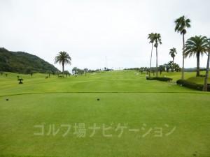 Kochi黒潮カントリークラブ 太平洋コース1番スタートホール。バックティの更に奥からの写真。
