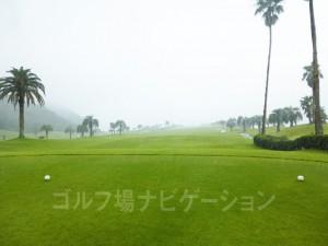 Kochi黒潮カントリークラブ 太平洋コース1番ホール、レギュラーティからの眺め。かなり雨が降ってました。