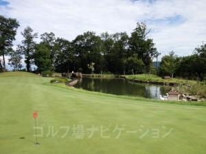 練習グリーンの奥に池があり、アヒルを飼っています。