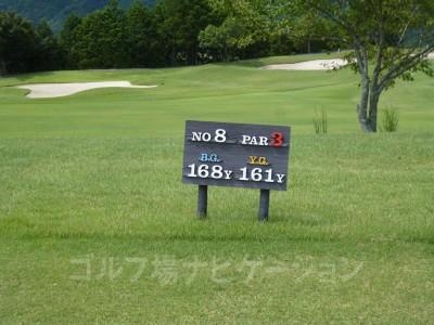 レオグラードゴルフクラブ OUTコース8番ショートホール、レギュラーティ(コースガイドやスコアカードではレディスティの距離)