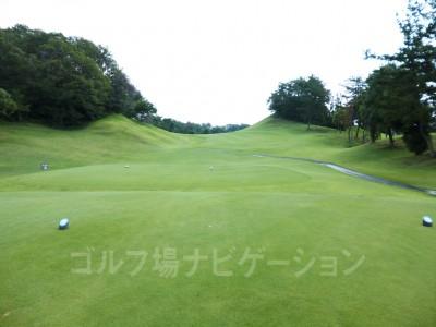 瀬田ゴルフコース北コース5番ミドルホール レギュラーティからの眺め。右ドッグレッグ。ティショットはやや打ち上げ。