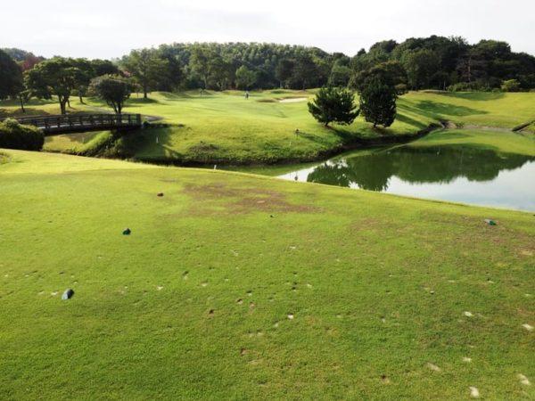 霞ゴルフクラブ INコース 12番ホール 池越えショート